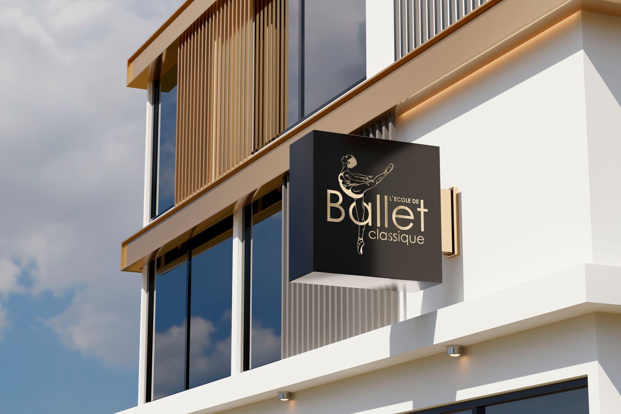 логотип балетной студии на вывеске