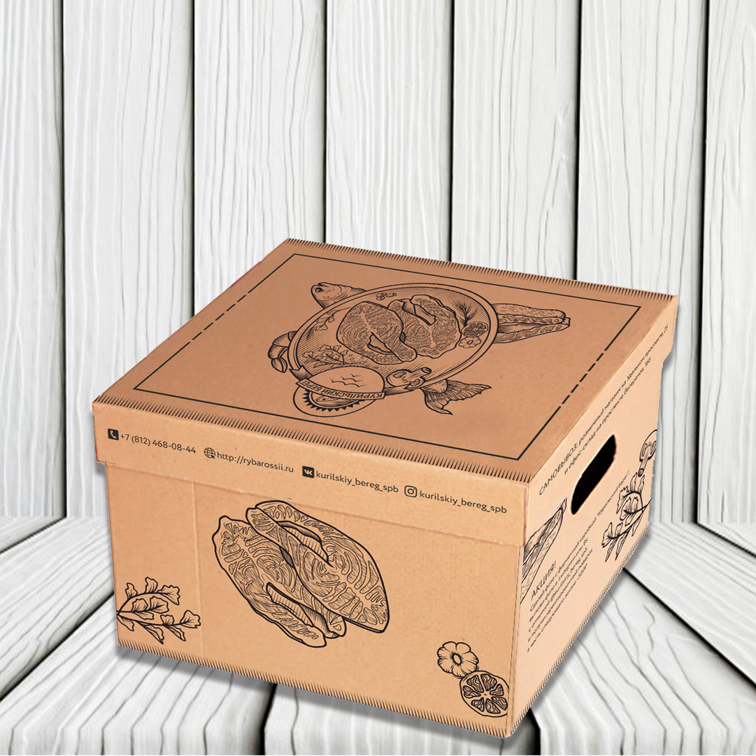 дизайн коробки доставки морепродуктов