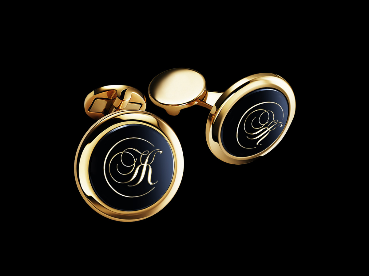 золотые запонки с монограммой на заказ