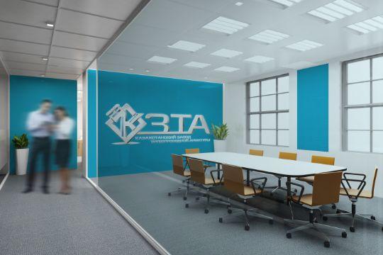 логотип завода на стене в офисе