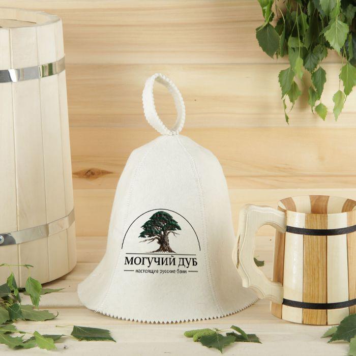вышивка логотипа на шапке для бани