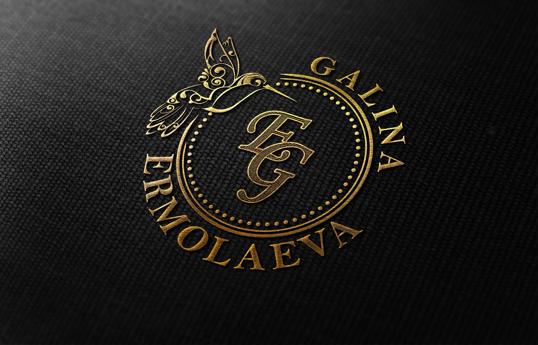 золотой логотип с монограммой и калибри