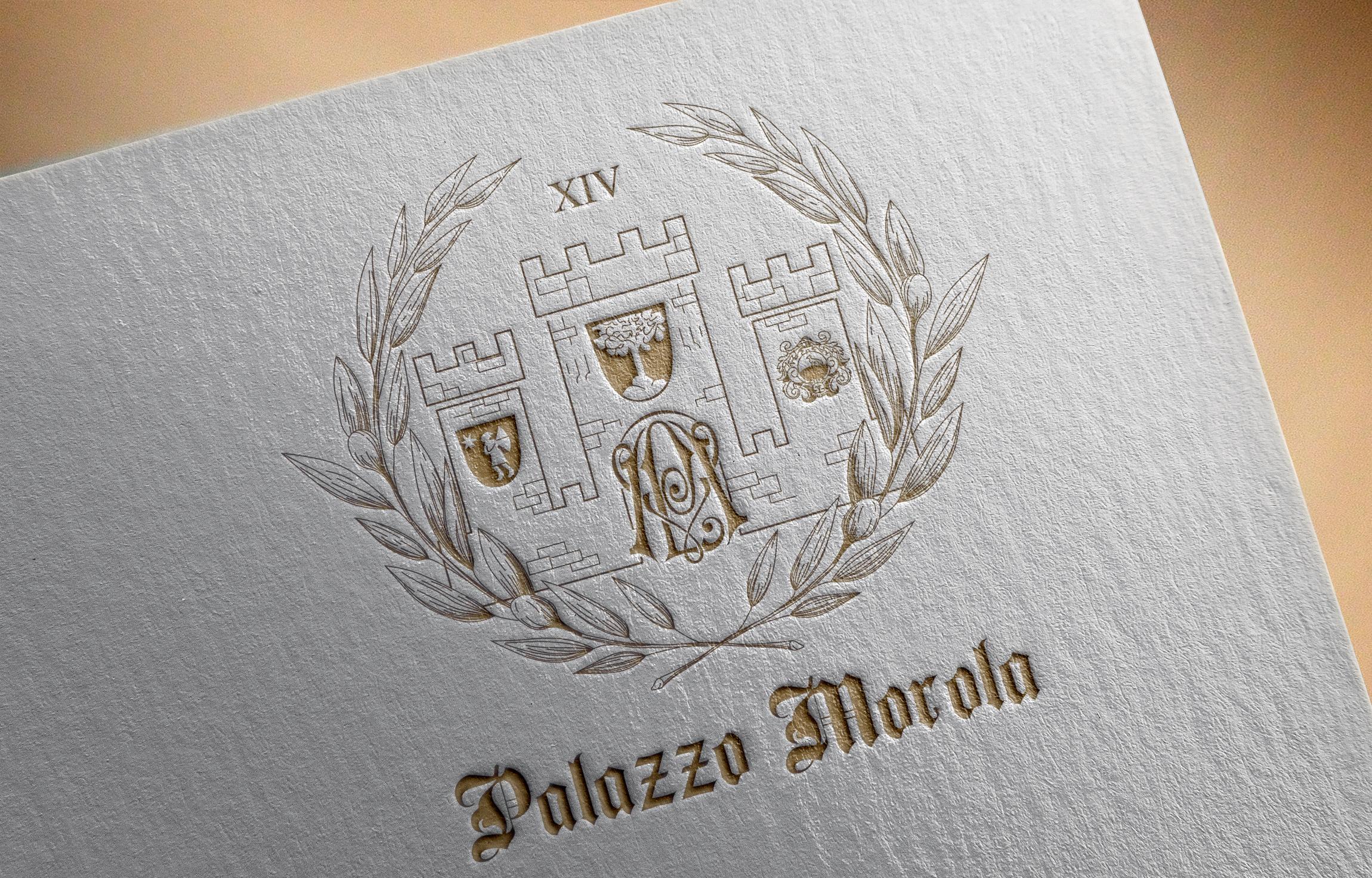 логотип гостиницы с крепостью и лавровым венком