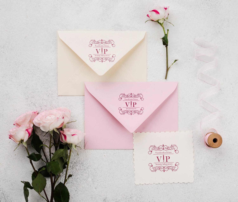 дизайн конвертов с логотипом для салона красоты
